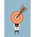 Black businessman with target and arrow vector image vector image