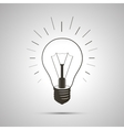 Black simple light bulb icon with shadow vector image