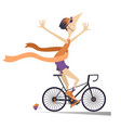 cartoon man rides a bike and wins the race isolate vector image vector image