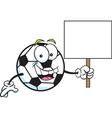 Cartoon soccer ball holding a sign vector image vector image