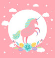 cartoon unicorn with stars flowers card vector image vector image