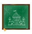 Castle drawing on blackboard art vector image vector image