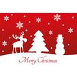 Christmas Tree Reindeer Snowman vector image vector image