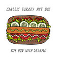 classic turkey hot dog on a sesame bun with vector image vector image