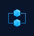 concept blockchain icon - two blue cubes vector image vector image