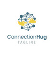 connection hug logo template vector image vector image