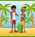 couple afro american with backpack baggage palm vector image vector image