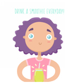 Cute girl with green smoothie vector image vector image