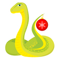 cute green snake with Christmas ball vector image