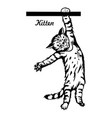 cute kitten hanging on line - cheerful kitty vector image vector image
