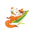 cute red fox in colorful glasses drink cold vector image