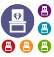 diamond in box icons set vector image vector image