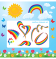 Different shapes of rainbows clouds sun vector image vector image