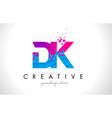 dk d k letter logo with shattered broken blue vector image