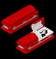Dracula in coffin Vampire Count in an open hearse vector image vector image