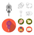 dream catcher soft toy sheep and rabbit floor vector image vector image
