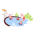 family swimming pool outdoor activity leisure vector image