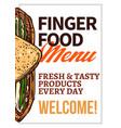 finger food menu hand drawn poster vector image vector image