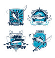 fishing sport club emblem with fish and rod vector image vector image
