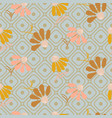 flower pattern in pastel colors on geometric line vector image vector image