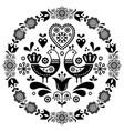 folk art round ornamental frame with birds vector image