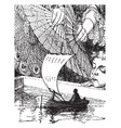 gulliver in a miniature boat vintage vector image vector image