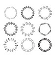 hand drawn set floral wreaths vector image vector image