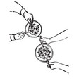 hands with cutlery dining people top view on vector image