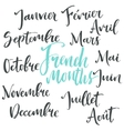 Handwritten french months vector image