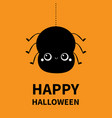 happy halloween black spider silhouette icon vector image vector image