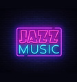 jazz music neon sign jazz music design vector image vector image