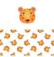Leopard Head Icon And Pattern vector image
