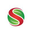 letter s leaf eco logo vector image