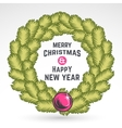 Merry Christmas green wreath design vector image vector image