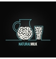 milk glass bottle line design background vector image