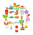 nursery maid icons set cartoon style vector image vector image