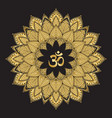 om symbol with mandala round golden pattern on vector image vector image
