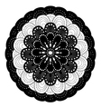 Ornamental round lace pattern black and white vector image vector image