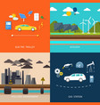 Power plant Electric cars and petrol car vector image vector image
