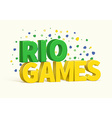 rio 3d realistic text eps 10 vector image vector image
