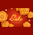 sale red background with gold paper flowers vector image vector image