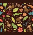 seamless pattern with cute monkeys in jungle vector image
