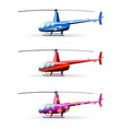 set helicopters white background isolated vector image vector image