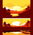 set horizontal nature banner vector image