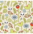 Skulls and flowers seamless background vector image vector image