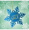 Snowflake sale tag on a snowy background