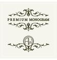 Stylish floral monogram design line art logo vector image vector image
