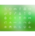 Tourism camping linear icons set isolated on vector image