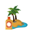 tropical island and sun block icon vector image vector image