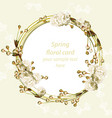vintage cherry blossom round card frame spring vector image vector image